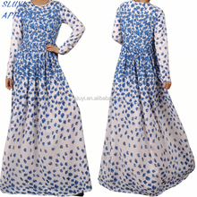 Flower printing dubai abaya in islamic clothing Dubai Women Maxi Dress Autumn Beautiful women clothing muslim women abaya