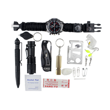Survival Gear Kit 26 in 1 , Professional Outdoor Emergency Survival Tools Set with Saber Card | Survival Bracelet | Temperature