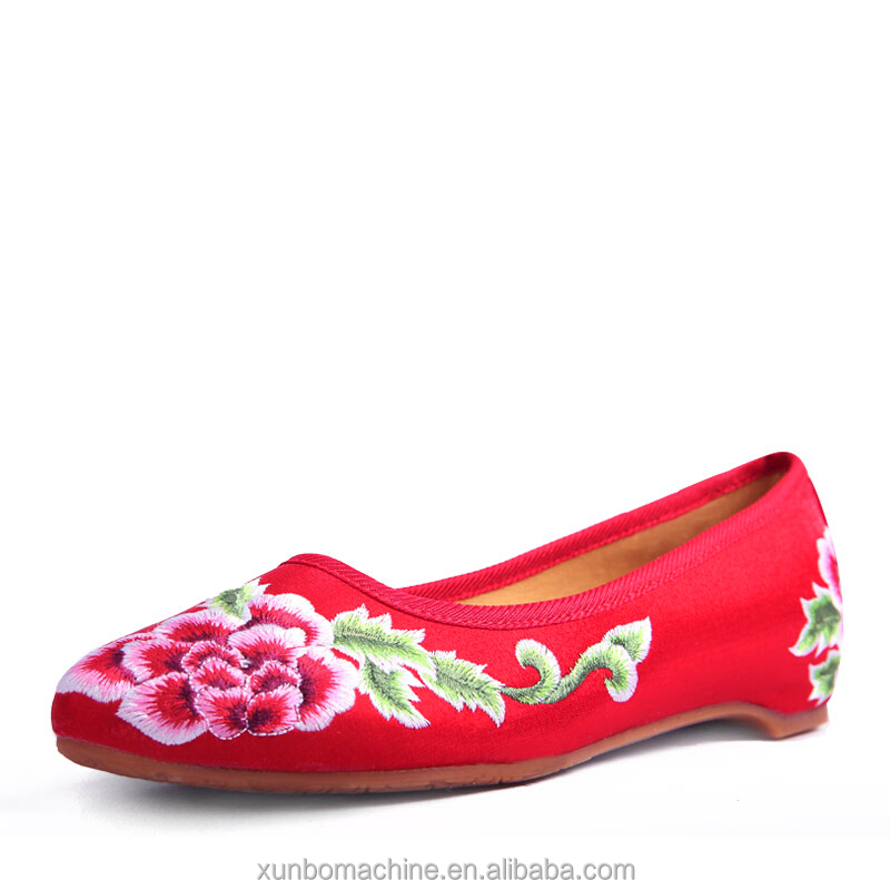 Embroidered Chinese Style Flats Ballet Embroidery Crafts Women's Shoes Red White Green Blue