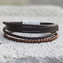 Wholesale Fashion Custom Braided Men Leather Stainless Steel Bracelet with Magnetic Clasp MJCB010