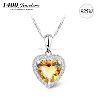 T400 hot sell joyas de 925 sterling plata con AAA Zirconia hear pendant necklace set 2015 10600