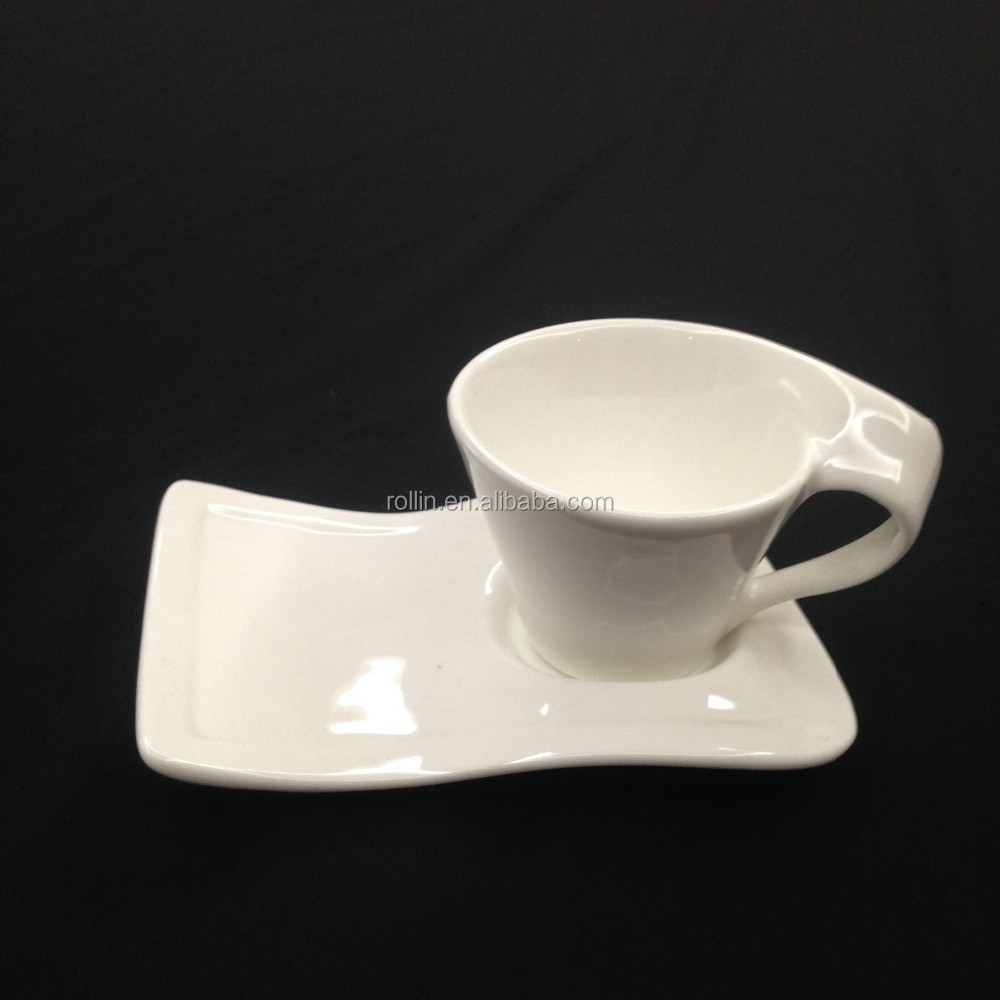 Italian Art Square white ceramic porcelain coffee Cup espresso porcelain cup with tray