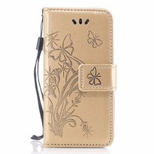Flower Print Flip Leather Wallet Case For Iphone 5s