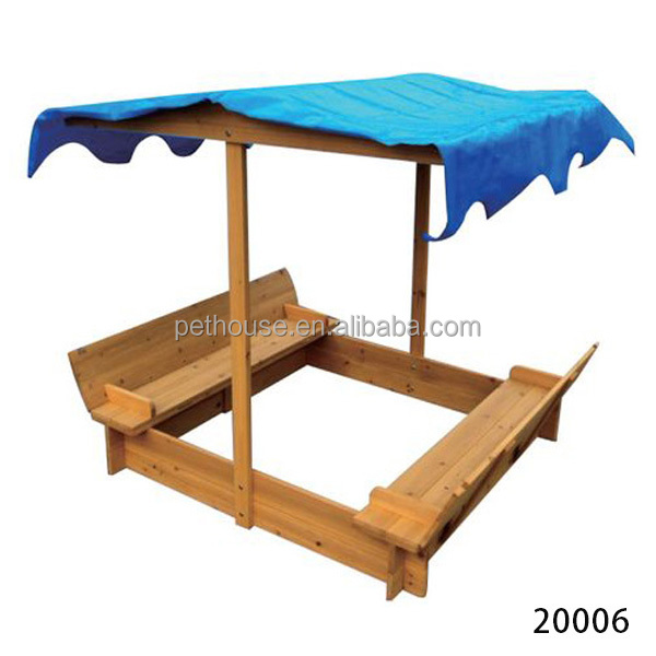 Wooden sandbox bench with canopy roof cover