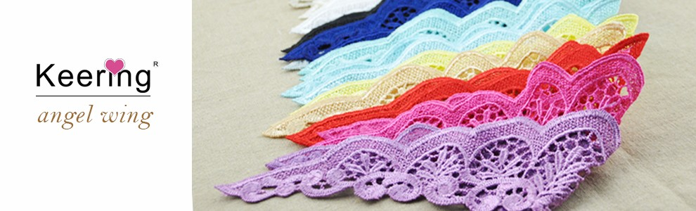 customized stock small size lace sleeve flutter trim for baby