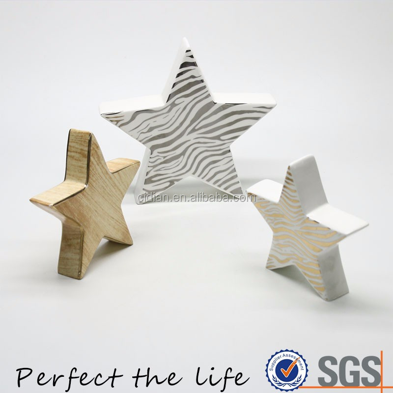 Wooden color Ceramic Christmas Star with golden rim Decoration Ornament