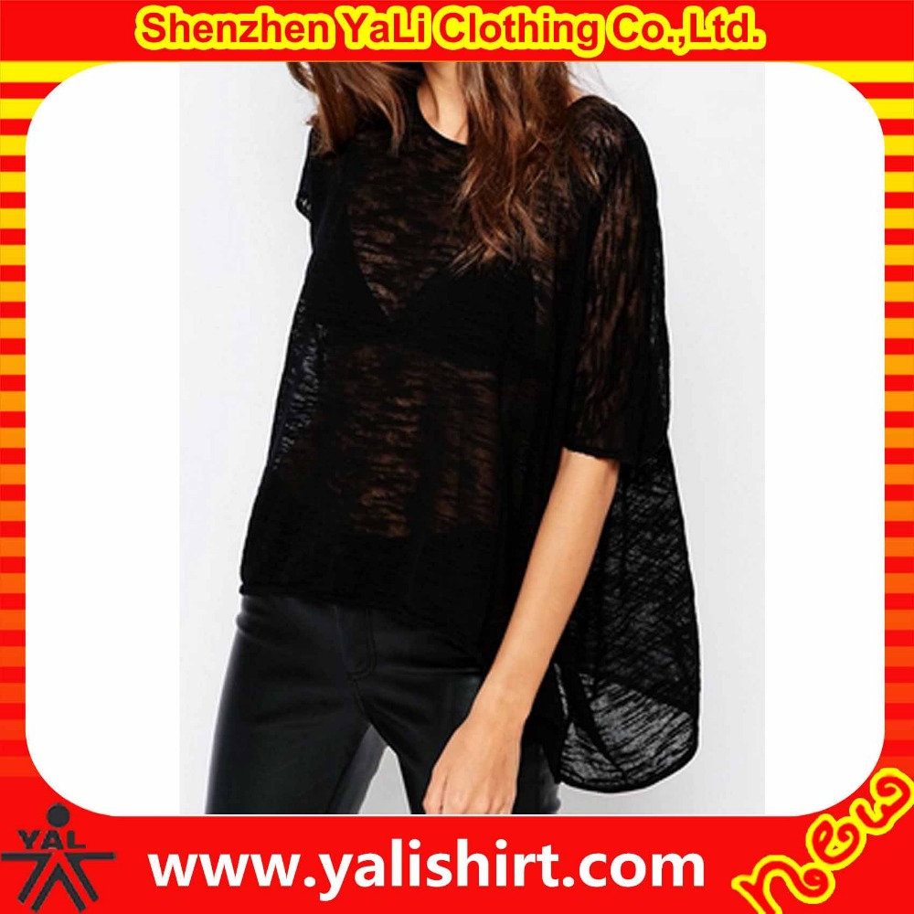 Summer oem soft and thin plain short sleeve loose batwing style knit burnout women tee shirts