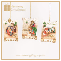 Polyresin Nativity Scene Figurines Set on Scroll