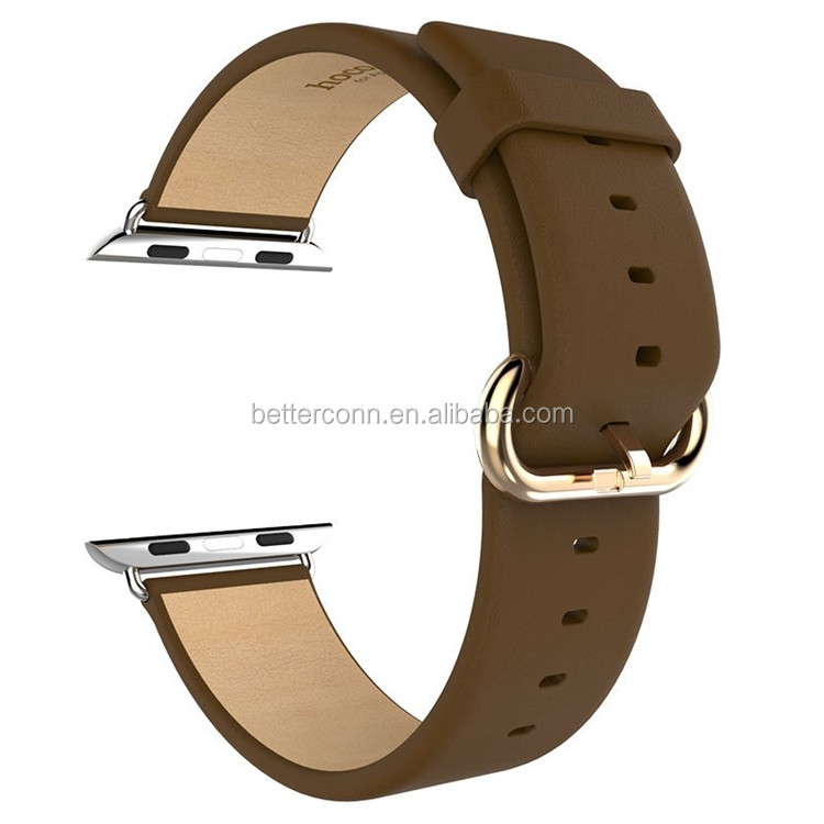 Brown HOCO Genuine Leather Classic Buckle Watch Band Strap For Apple Watch 38mm 42mm