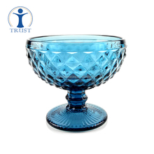 Wholesale Single Wall Colored Pieces Sets Goblet Glass Blue Ice Cream Cup