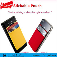 Card wallet Smartphone Pouch 3M Stickable Silicone Side Open Pouch Smart Wallet Card Money Holder