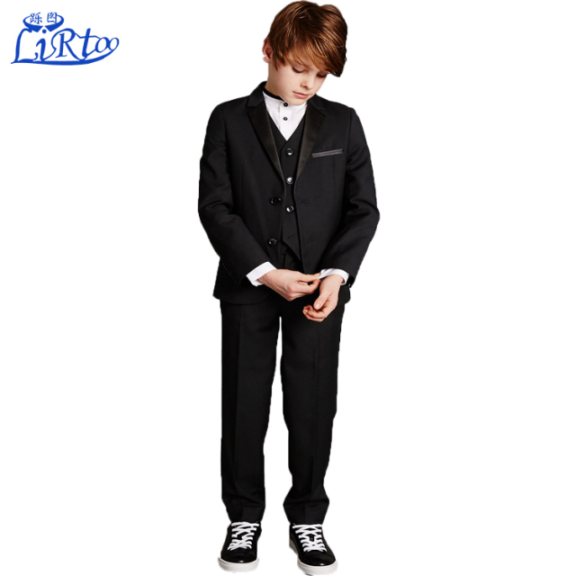 Top sale black groom wedding boys three pieces men pant dress cost suit design for boys