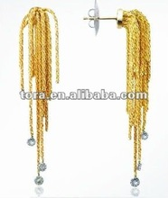2012 fashion Diamond Drops Yellow Gold Chain Stud Earrings