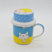 Hunan customer decal ceramic coffee cup promotional mug with lid