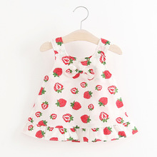 Girls Short Sleeve Dress Toddler Girl Cotton Summer Cotton Print Strawberry Dresses 2017 Child Girls Clothing Children's Clothes