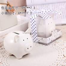 wedding favor gift and baby shower giveaways for guest--Lovely Ceramic White Pig Bank wedding bridal favor