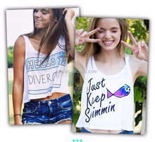 new custom summer fashion loose plain crop tops wholesale women tank top