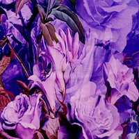 3D big purple flowers printed silk like soft chiffon