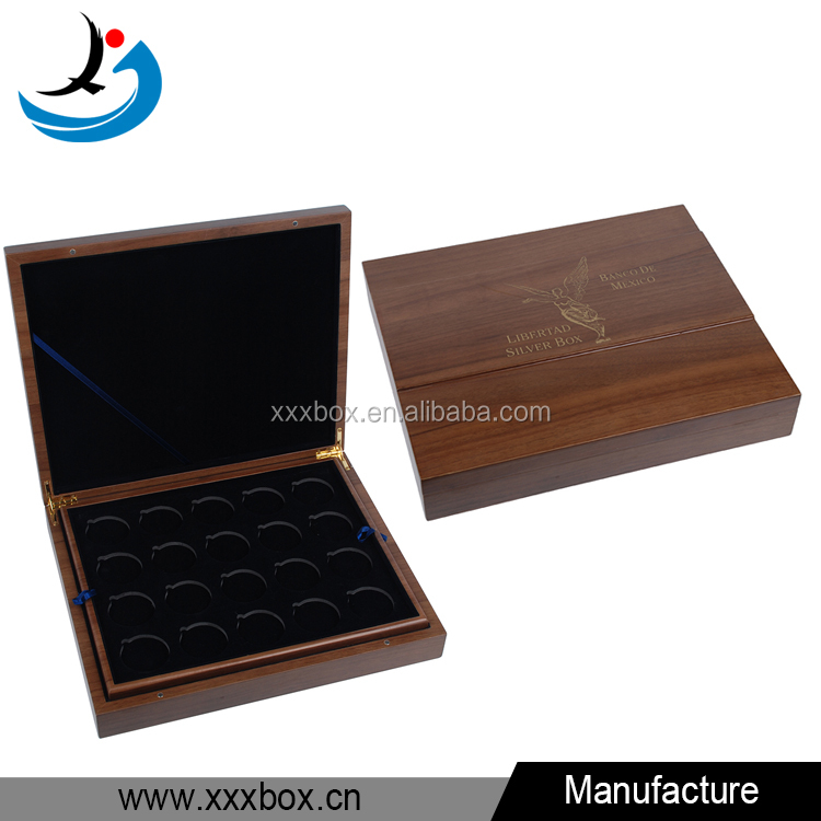 custom luxury lacuqered wooden coin gift box 2 layers