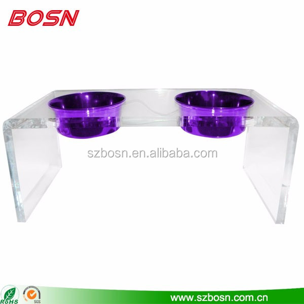 Hot sell clear pet dog food container supplies raised dog food bowl