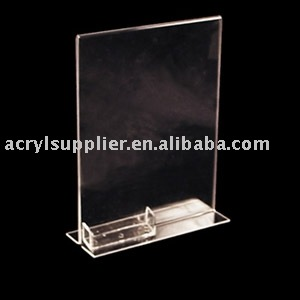 Stand Up Acrylic Sign Holder w/ business card holder