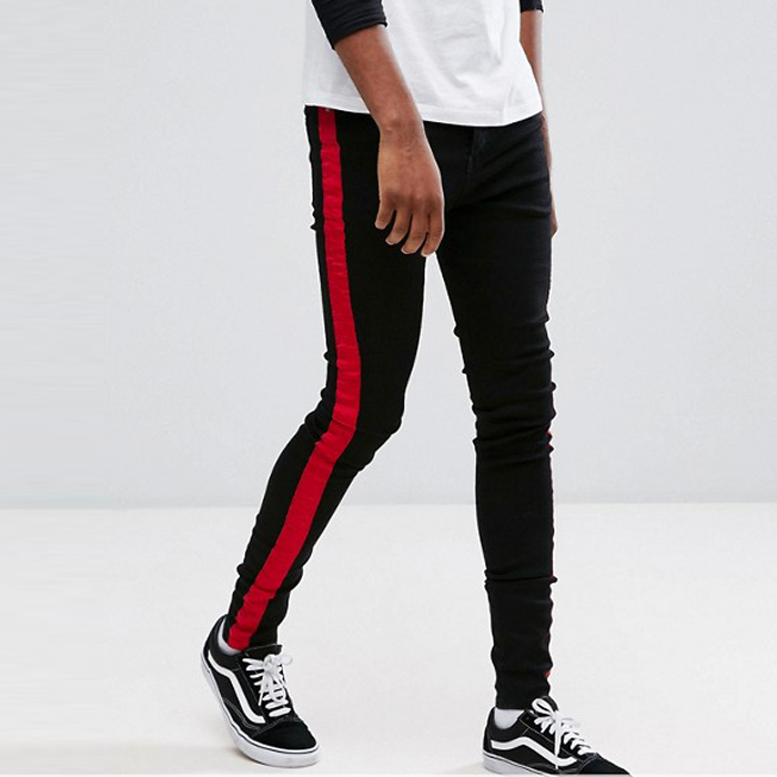 wholesale streetwear clothing patterned men super skinny black jeans with red contrast sides
