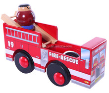 new real wood beautiful handmade red paiting fire rescue engines transformer toy made in china wooden education toy in truck car
