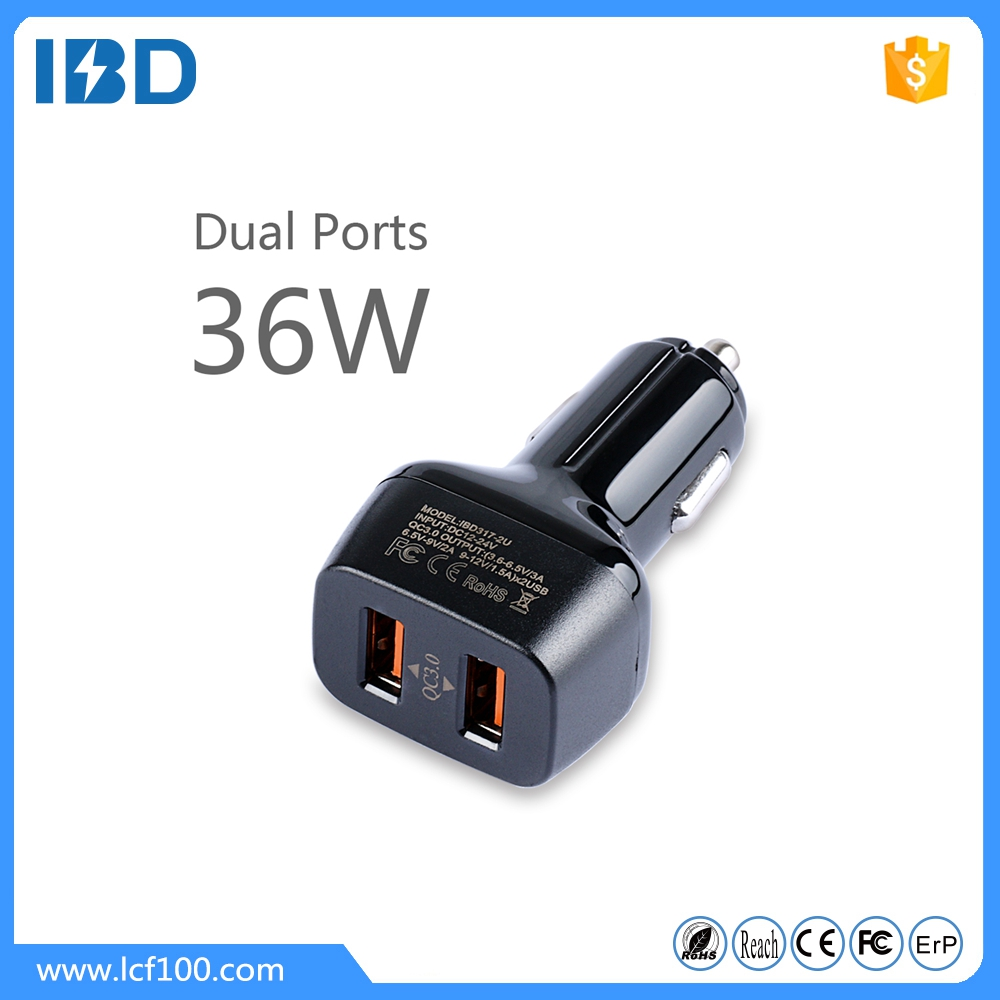Factory high quality wholesale double usb qualcomm quick charge 3.0 quick car charger adapter with 36W,6A output