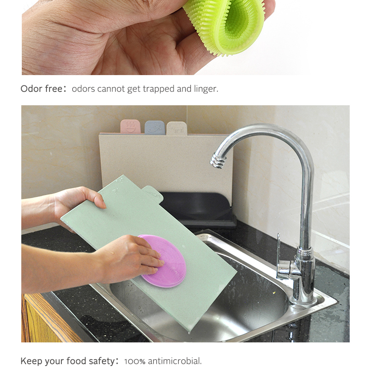 Food Grade Silicone Kitchen Tool Dish Scrubber Cleaning Sponge Dishwashing Brush