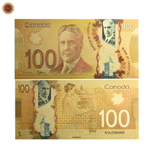 Art Crafts Colorful Canada Fake Paper Money 24K Gold Banknote Souvenir Items