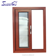 Wood Grain Finish new design double glazed sliding aluminium window door