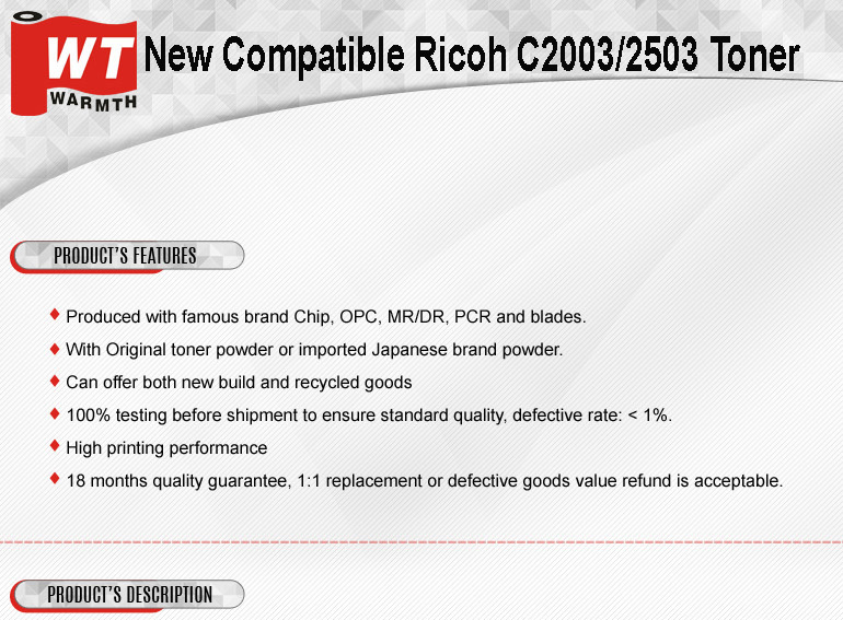 Factory New Compatible Ricoh MPC 2003/2503 Toner