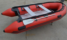 CE 2.7m 3persons korea pvc reinforced bottom inflatable fishing boat for sale