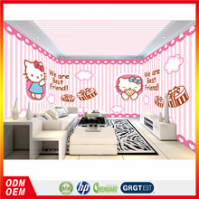 custom whole room wall murals cartoon design pink style hello kitty decoration wallpapers for nursery school kids bedroom