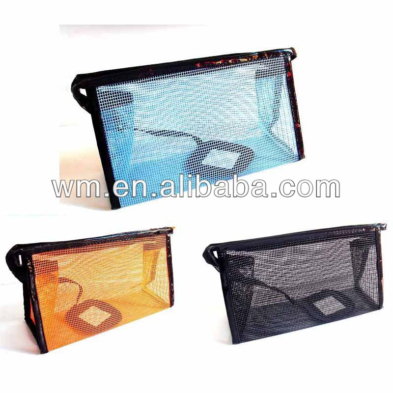 Newest customized nylon mesh beauty cosmetic bag with mirror