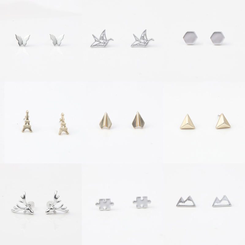 Simple Classic <strong>Earrings</strong> Tiny Geometric Style , Fruit Pineapple Mute Gold Plated Stud <strong>Earrings</strong> for Women