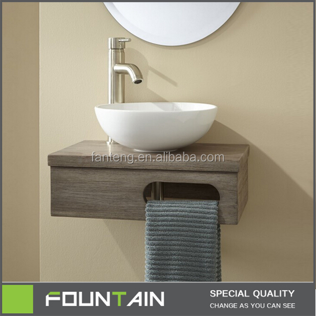Wall Mount Vessel Vanity Modern Glass And Ceramic Bathroom Vanity Wash Hand Basin With Towel Rack Wooden Bathroom Vanity