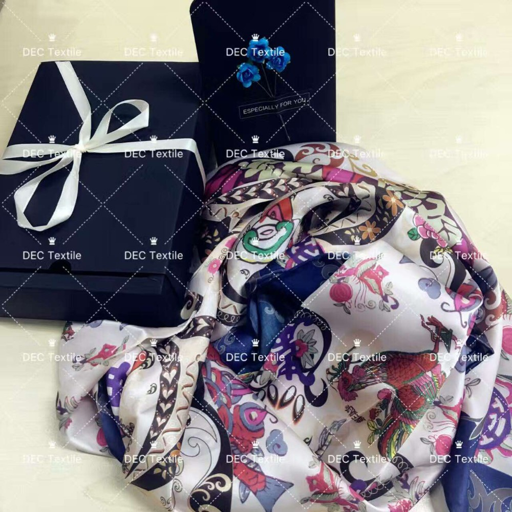 Factory direct custom digital print chinese silk scarf
