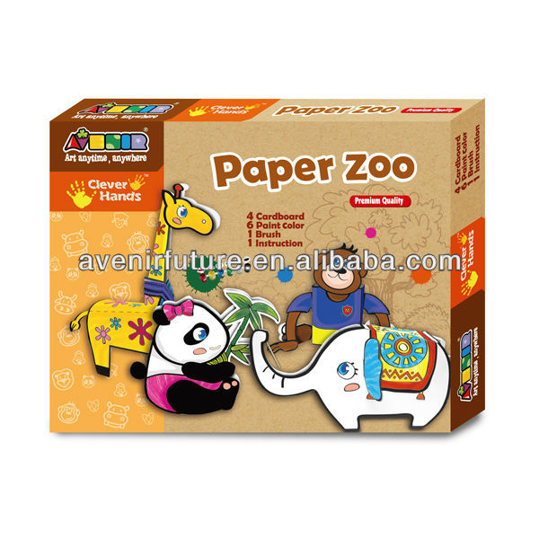 3d Innovative Coloring Arts Origami Jurassic, Dinosaurs, Elephant, Panda, Giraffe Perfect Animal Park Crafts Toy Sets for kids