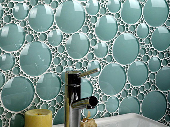 Beautiful backsplash bubble wall tile turquoise glass mosaic tile