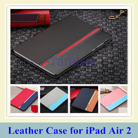 PU Leather Flip Pouch Stand Case Cover 5 Colors for iPad Air 2 for iPad 6