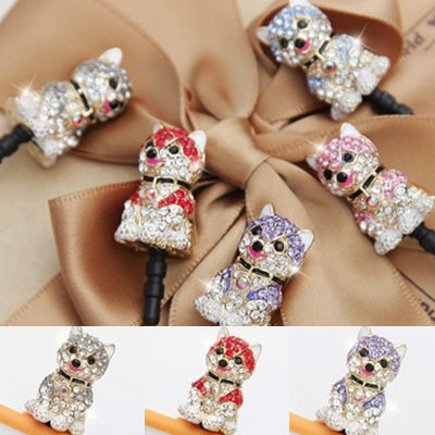 New Crystal Husky Dog Anti Dust Ear Cap For Smart Phone