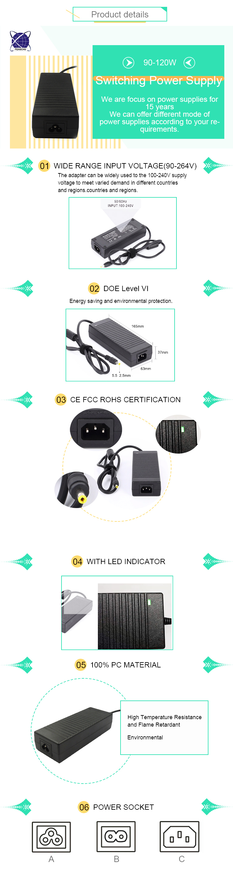 19v 6a power adapter 114w switching power supply for CCTV camera