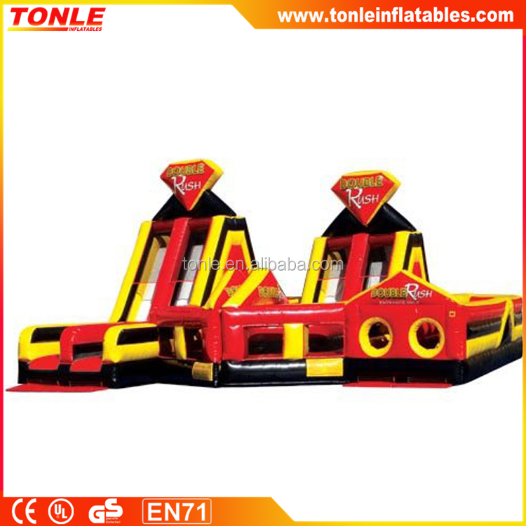 high quality Double Rush inflatable obstacle course/ adults inflatable obstacle challenge game for sale