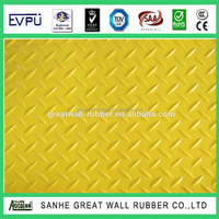 HIgh Tensile strength 3mpa Yellow Color Willow Diamond Rubber Sheet 1/16