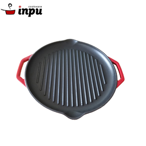 Top rate enamel cast iron grill pan red colour grill pan pizza pan