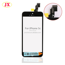 Front assembly lcd screen with small parts for iPhone 5c (camera + sensor flex cable,home button + home button flex cable)