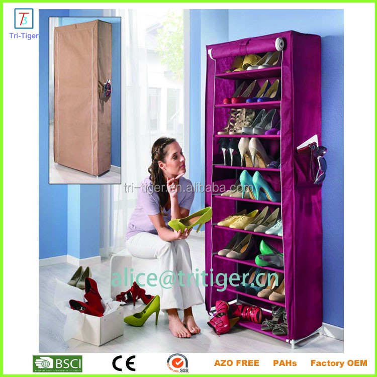 9 Tier Shoe Tower Cabinet Organizer Single Door Dustproof Portable Clothes Shoe Rack Organizer With Cover