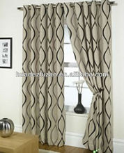 polyester jacquard finished curtains with 8 iron rings