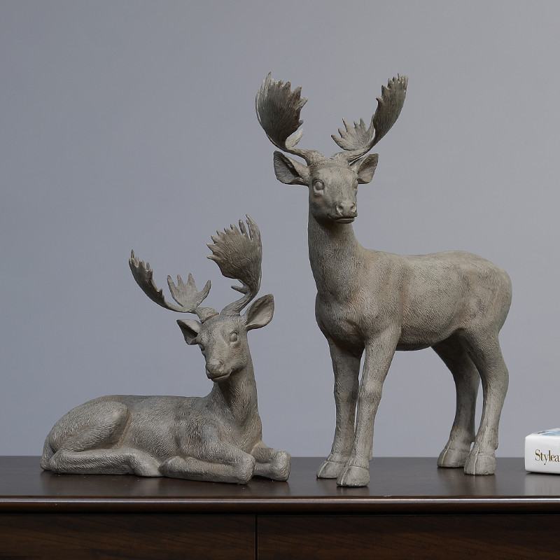 Handmade Animal Ornaments Resin Deers Christmas Figurines
